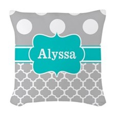 Gray Teal Dots Quatrefoil Personalize Woven Throw