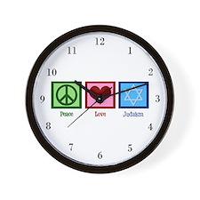 Peace Love Judaism Wall Clock