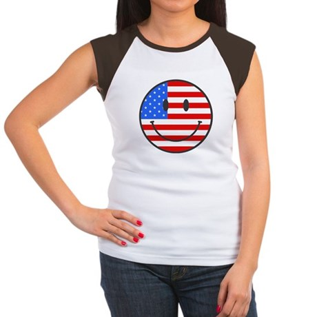 4th Of July Happy Smile Women's Cap Sleeve T-Shirt