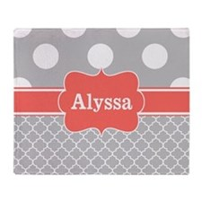 Gray Coral Dots Quatrefoil Personalized Throw Blan