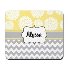 Gray Yellow Blooms Personalized Mousepad