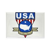 GOD BLESS AMERICA USA Pennant Rectangle Magnet