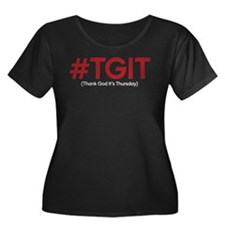 #TGIT Women's Plus Size Scoop Neck Dark T-Shirt