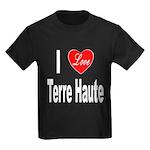 I Love Terre Haute (Front) Kids Dark T-Shirt