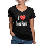 I Love Terre Haute (Front) Women's V-Neck Dark T-S