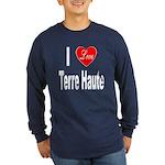 I Love Terre Haute (Front) Long Sleeve Dark T-Shir