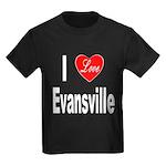 I Love Evansville (Front) Kids Dark T-Shirt