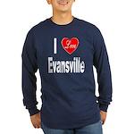 I Love Evansville (Front) Long Sleeve Dark T-Shirt