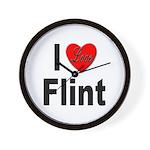 I Love Flint Wall Clock