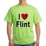 I Love Flint (Front) Green T-Shirt