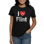 I Love Flint (Front) Women's Dark T-Shirt