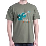 Fiddle Freak Blue Violin Military Green T-Shirt