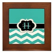 Turquoise Chevron and Monogram Framed Tile