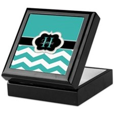 Turquoise Chevron and Monogram Keepsake Box