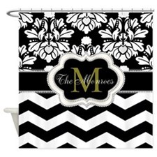 Rose, White and Black Monogram Design Shower Curta