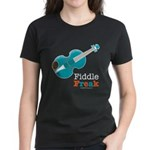 Fiddle Freak Blue Violin Women's Black T-Shirt