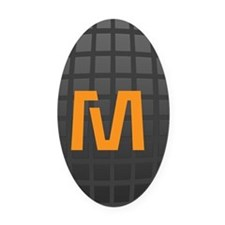 Cool High Tech Monogram Pattern Oval Car Magnet