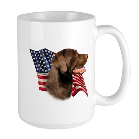 Chocolate Lab Flag Large Mug
