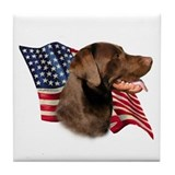 Chocolate Lab Flag Tile Coaster