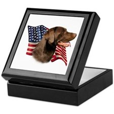 Chocolate Lab Flag Keepsake Box