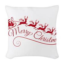 Santa Claus with his sleigh Woven Throw Pillow