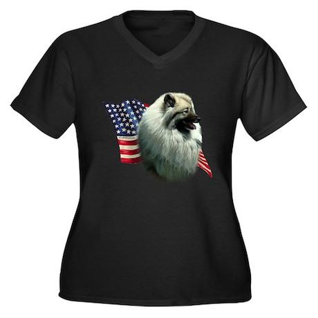 Keeshond Flag Women's Plus Size V-Neck Dark T-Shir