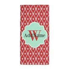 Mint and Coral Diamond Trellis Custom Beach Towel