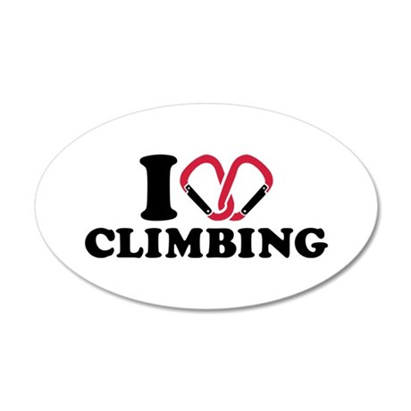 I love Climbing carabiner 20x12 Oval Wall Decal
