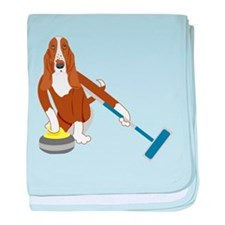 Basset Hound Curling baby blanket