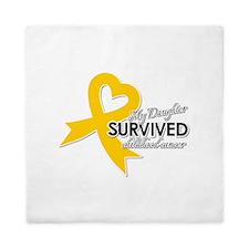 My Daughter Survived Childhood Cancer Queen Duvet