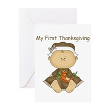 My First Thanksgiving - Baby Girl Greeting Cards