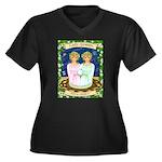 Lady Gemini Women's Plus Size V-Neck Dark T-Shirt
