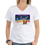 XmasSunrise/2 Airedales Women's V-Neck T-Shirt