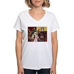 Santa & Akita Women's V-Neck T-Shirt