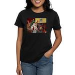 Santa & Akita Women's Dark T-Shirt