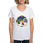 XmasMusic 3/Basenji Women's V-Neck T-Shirt