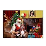 Santa's Basset Hound Postcards (Package of 8)