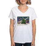 Xmas Magic - Basset Women's V-Neck T-Shirt