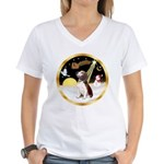 Night Flight/Beagle #2 Women's V-Neck T-Shirt