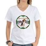 XmasMusic1MC/ Beagle Women's V-Neck T-Shirt