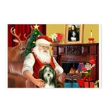 Santa's Bearded Collie Postcards (Package of 8)