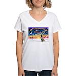 XmasSunrise/Mastiff #3 Women's V-Neck T-Shirt