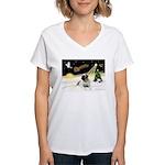 Night Flight/Mastiff 4 Women's V-Neck T-Shirt