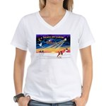 XmasSunrise/Cavalier #2 Women's V-Neck T-Shirt