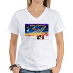 XmasSunrise/3 Cavaliers Women's V-Neck T-Shirt