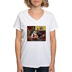 Santa's Chihuahua Women's V-Neck T-Shirt