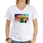 XmasMusic2/Shar Pei Women's V-Neck T-Shirt