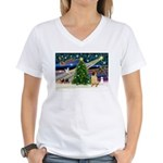 XmasMagic/ Shar Pei Women's V-Neck T-Shirt
