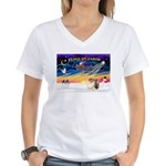 XmasSunrise/Chow Women's V-Neck T-Shirt