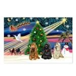 XmasMagic/3 Cockers Postcards (Package of 8)